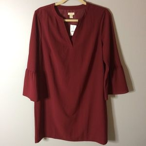 New J Crew Bell Sleeve V Neck Red Currant Dress